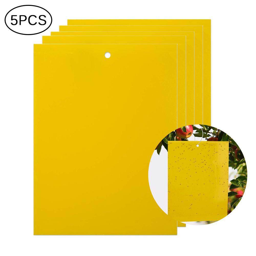 Outdoor Yellow Sticky Glue Flying Pest Insect Papers Traps Catchers Bugs Useful