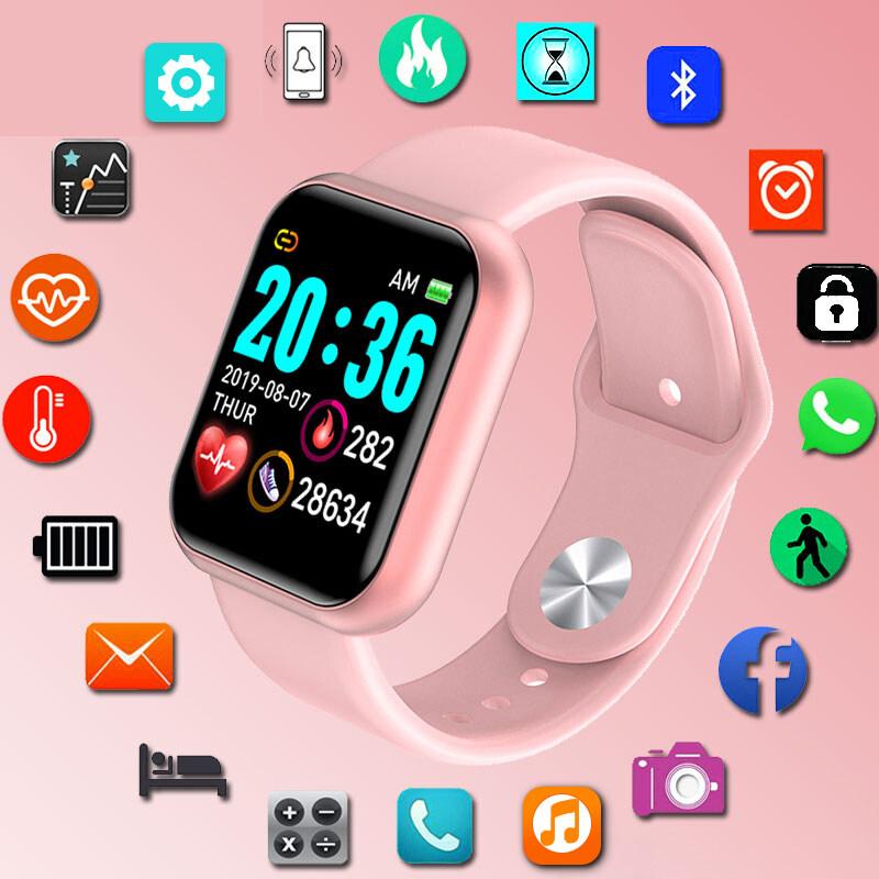 Đồng hồ đeo tay thông minh kỹ thuật số Y68 chất liệu silicone chống nước dành cho nữ theo dõi nhịp tim đo huyết áp báo thức - INTL