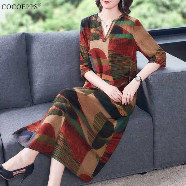 Đầm COCOEPPS AA Cho Nữ, Đầm Cổ Điển Tay Lỡ Cỡ Lớn Dáng Rộng Phong Cách Dân Tộc Thanh Lịch Bằng Lụa Lạnh Mùa Hè 2020