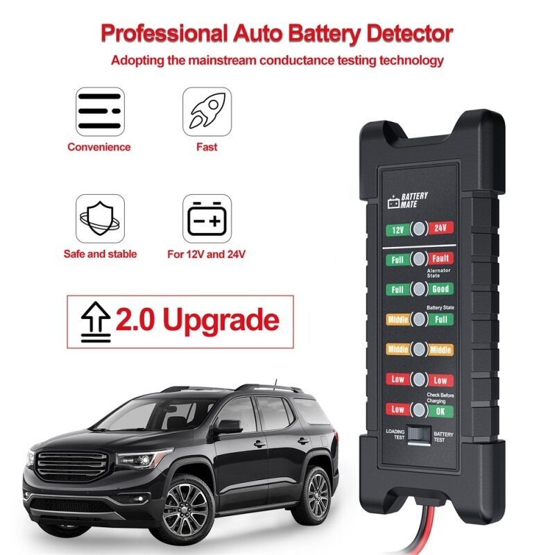 【Ready Stock in Malaysia】12V 24V Car Battery Tester Quick Cranking tester Alternator 7 LED Light Display Auto Diagnostic Tools 24 Volts Battery Analyze Malaysia