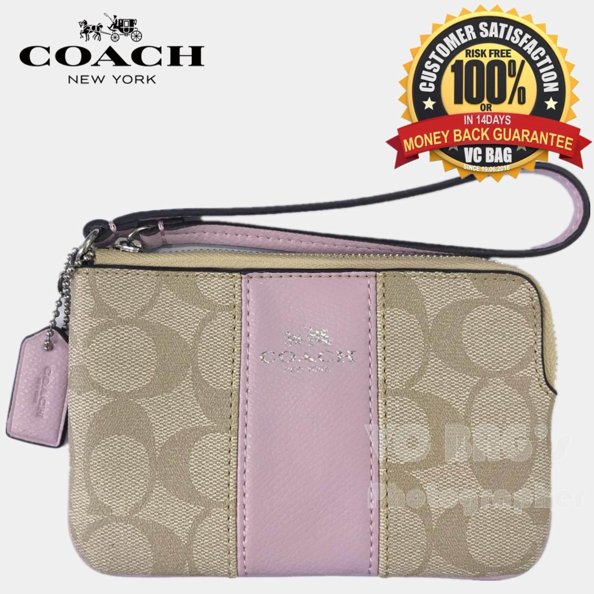 a132f6e11a83 COACH F64233 Corner Zip Wristlet in Signature Coated Canvas with Leather  Bag  Silver Light
