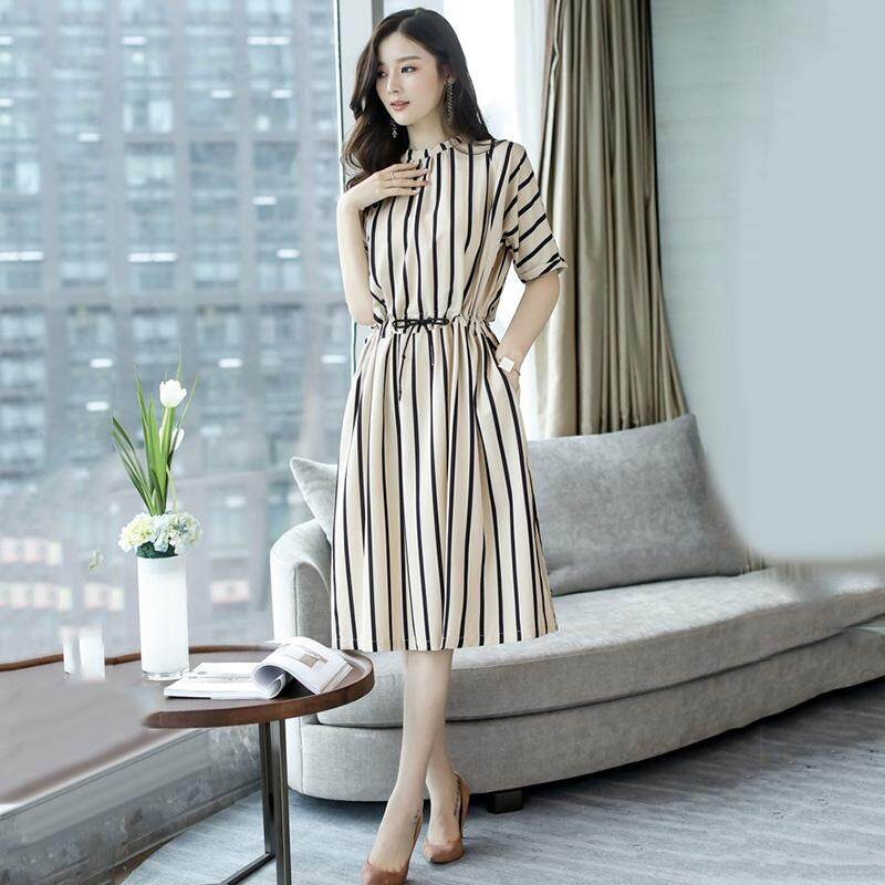 08c90da34c Ishowmall Summer Women's Fashion Casual A Line Vertical Stripes Slim Fit  Half Sleeve Dress