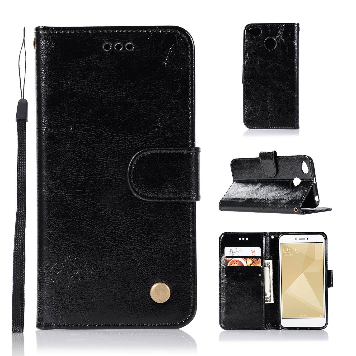 Casing For Xiaomi Redmi 4x,reto Leather Wallet Case Magnetic Double Card Holder Flip Cover By Life Goes On.