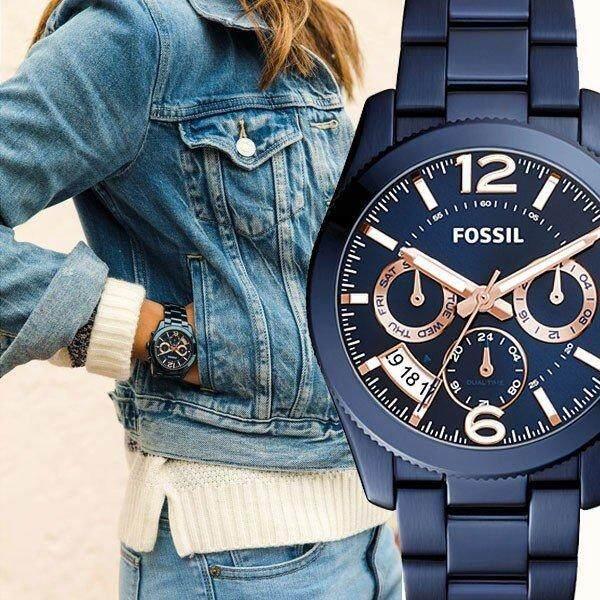 Original Fossil Womens Perfect Boyfriend Multifunction Blue Dial 39mm Jam Tangan Wanita with 2 year warranty ES4093 Malaysia