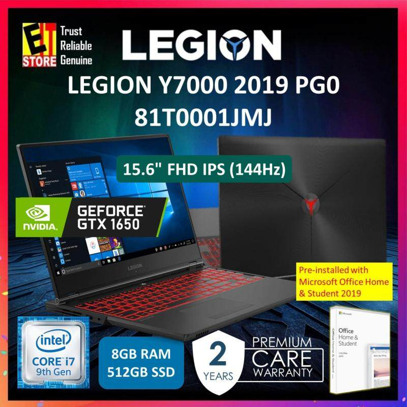 LENOVO LEGION Y7000 (81T0001JMJ) (I7-9750H/8GB/512GB/GTX 1650 4GB/15.6 FHD 144HZ/W10/2YRS include 1YR ADP) + WITH MS OFFICE HOME & STUDENT Malaysia