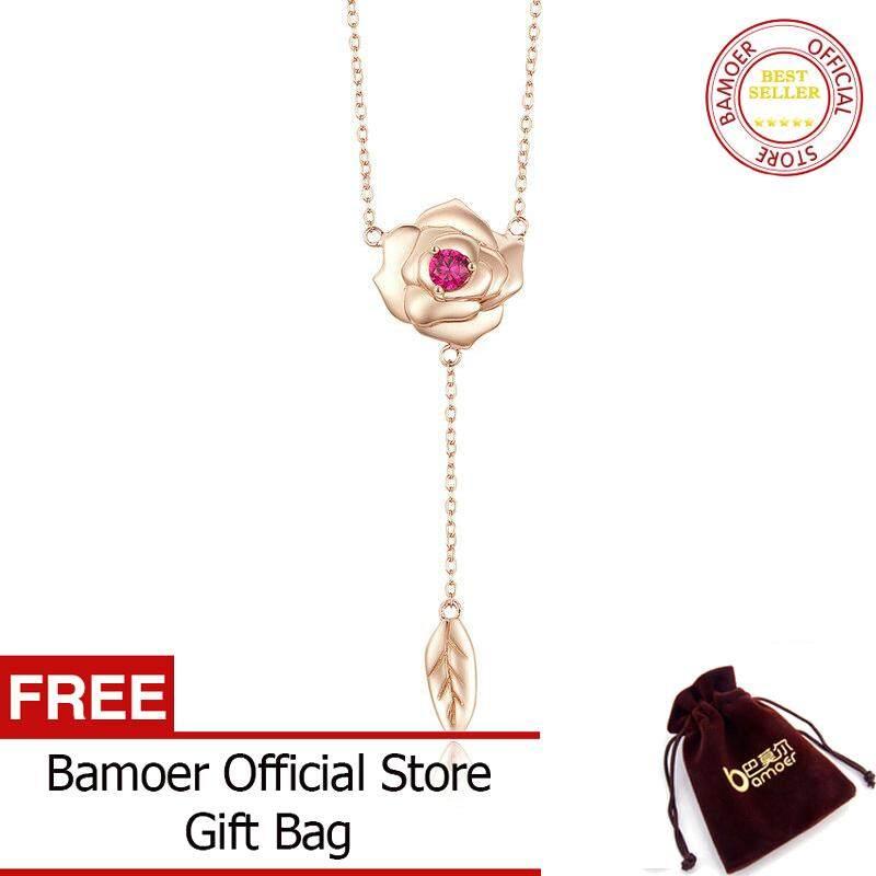 BAMOER MẠ Hoa Vòng Cổ Choker Nữ 3D Hoa hình CHỮ Y Dây Chuyền Ngắn Hoa Hồng Vàng Màu 925 Stelring Bạc Trang Sức BSN068