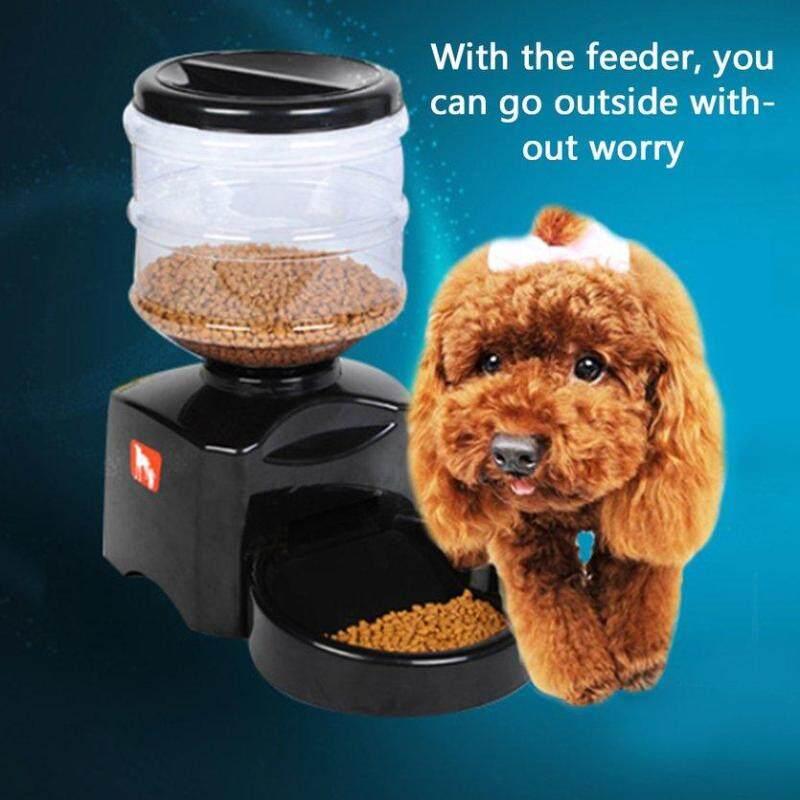 TOP (MỚI) 5.5L Tự Động Cho Thú Cưng Ăn với Tin Nhắn Thoại Ghi Âm và Màn Hình LCD Thông Minh Loại Lớn Chó Mèo Bát Đựng Thực Phẩm Đựng Đen