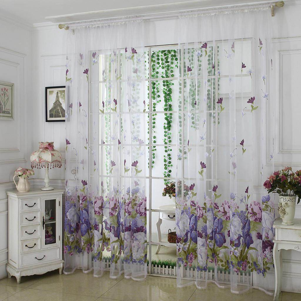 Bloomyshop Trees Sheer Curtain Tulle Window Treatment Voile Drape Valance  Fabric
