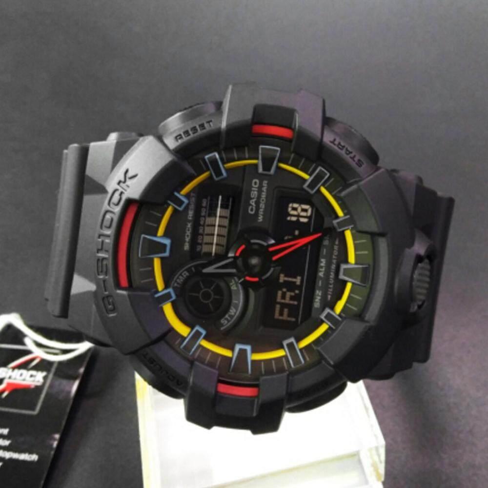 อุดรธานี 【 STOCK】Original _ Casio_G-Shock GA700 Duo W/เวลา 200M กันน้ำกันกระแทกและกันน้ำโลกนาฬิกากีฬาไฟแอลอีดีอัตโนมัติ Wist นาฬิกากีฬาสำหรับ MenBlack สีเหลือง GA-70