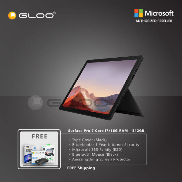 Microsoft Surface Pro 7 Core i7/16G RAM - 512GB Black - VAT-00025 + Surface Pro Type Cover [Choose Color] + Bitdenfender 1 Year Internet Security + Microsoft 365 Family (ESD) + Mobile Mouse Black + Amazingthing Screen Protector Malaysia