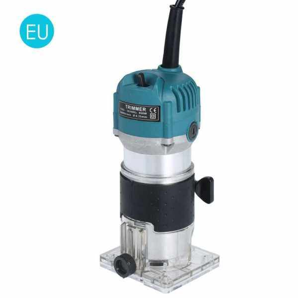 220V 800W Trim Router 30000r/min with Transparent Base Edge Guide Wood Laminate Electric Trimmer Compact Palm Router Corded for Woodworking Trimming Slotting Notching / Aluminum Blue (Eu Plug)