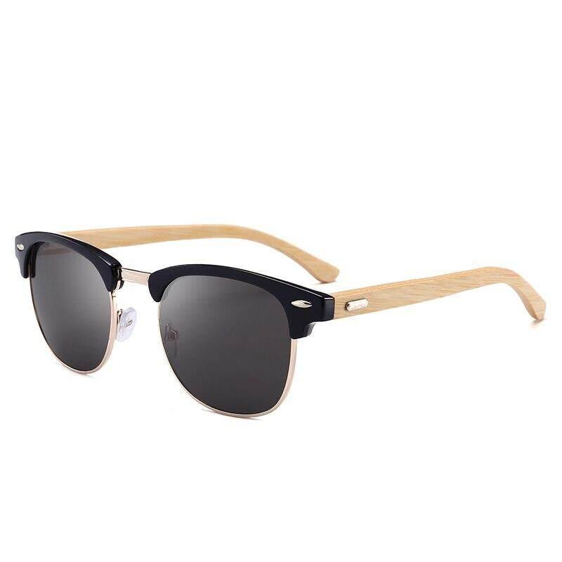 Half Metal 3016 Bamboo Men Sunglasses For Men