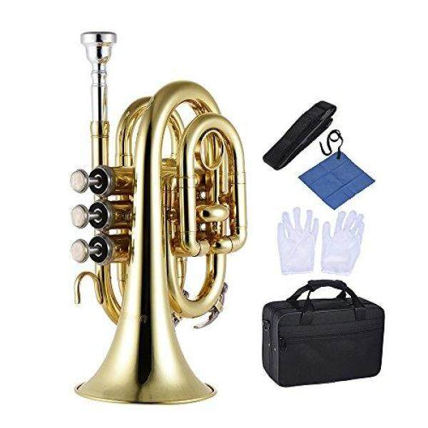 ammoon trumpet Bb flat brass wind instrument with mini pocket mouthpiece glove cleaning cloth and carrying case. Malaysia