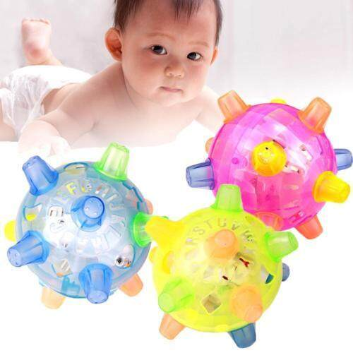 1x New Kid Toy Jumping Flashing Light Up Music Ball Colorful Bouncing Toy ( Random Color No Battery) By Sweet Bomb.