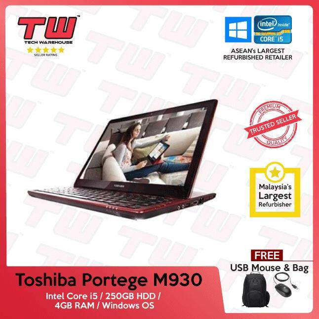 Toshiba Portege M930 Core i5 / 4GB RAM / 250GB HDD / Windows OS Laptop / 3 Months Warranty (Factory Refurbished) Malaysia