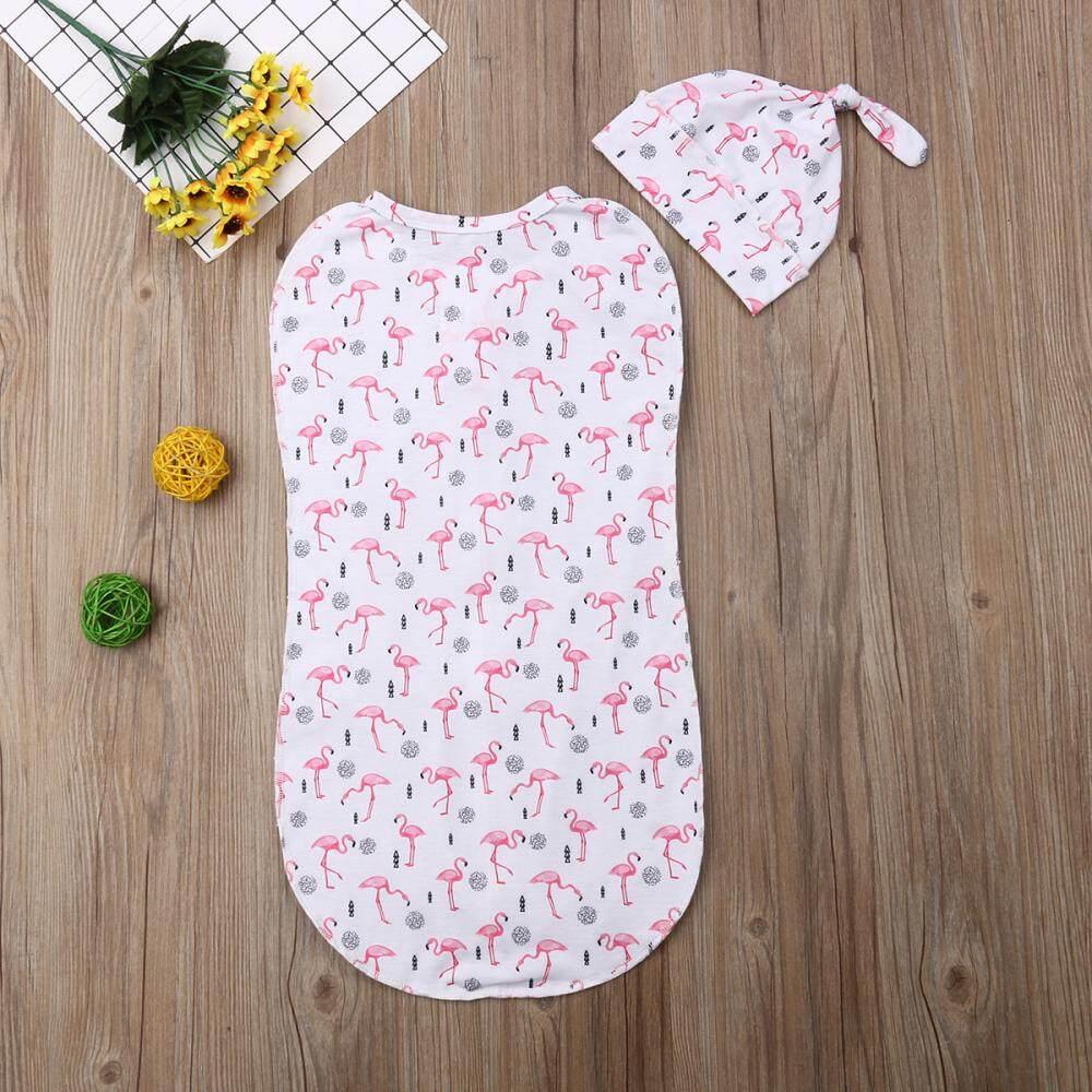 Cute Newborn Swaddle Blanket Baby Boy Girl Zipper Sleeping Bag Wrap Hat Cloth