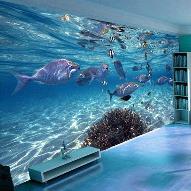 Photo Wallpaper 3D Underwater World Tropical Fishes For Living Room Sofa TV Background DIY Vinyl Wall Sticker