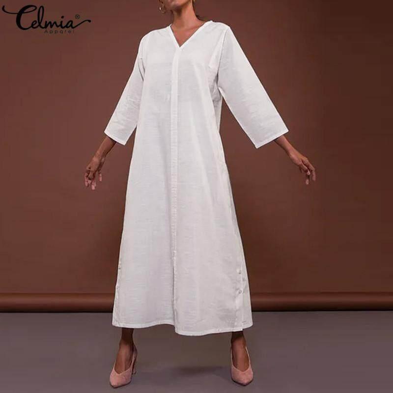 a77eb8d190a Celmia Womens A Line Plain Loose Casual Button 3/4 Sleeve V Neck Dress