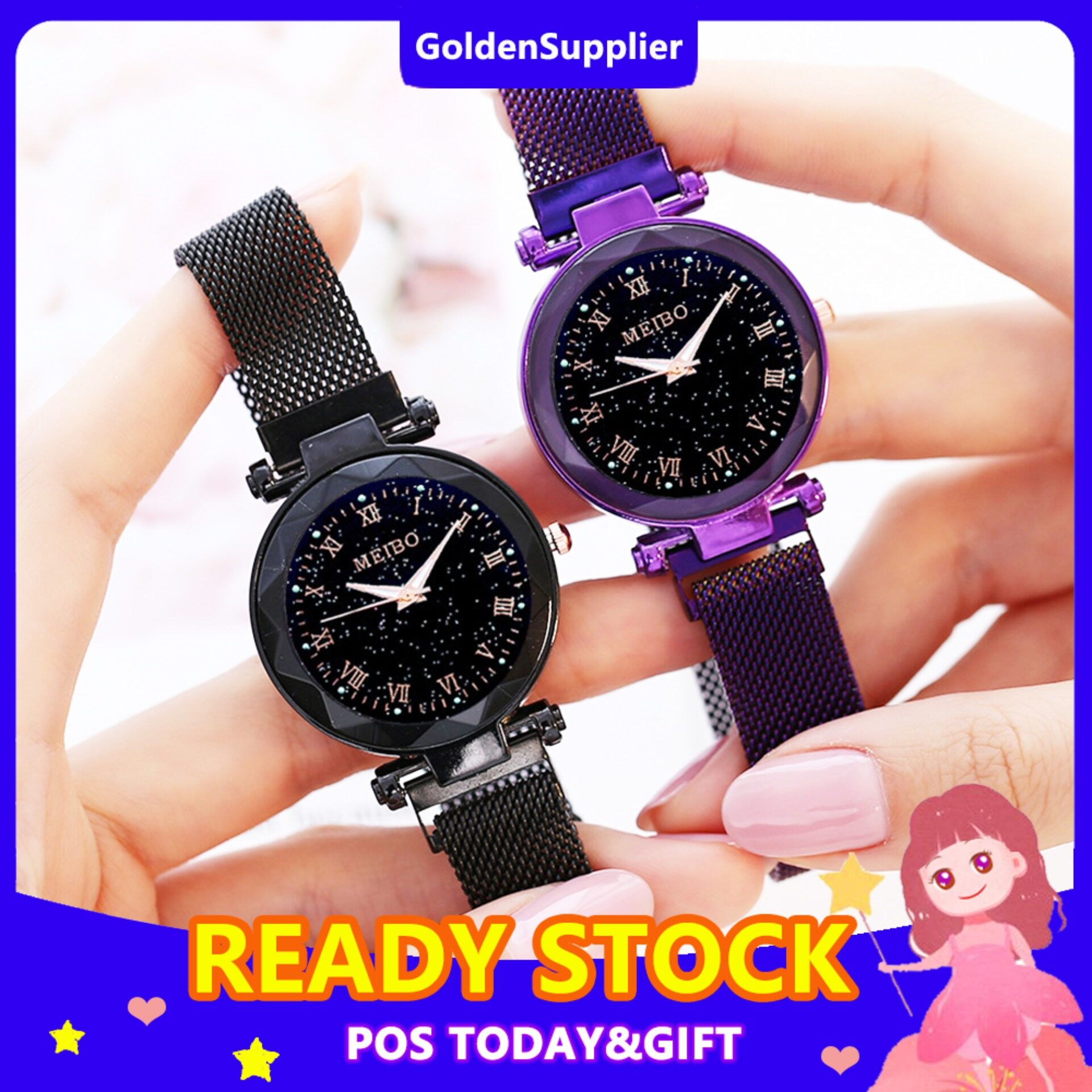 [BDAY SALE] Fashion Women Watch Casual Star Sky Watch Magnetic  Buckle Luxurious Elegance Stainlees Steel Waterproof Ladies Wristwacthes Malaysia