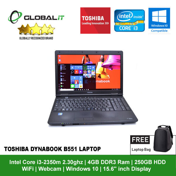 (Refurbished Notebook) Toshiba DynaBook B551 Laptop / 15.6 inch LCD / Intel Core i3-2350m / 4GB DDR3 Ram / 250GB HDD / WiFi / Windows 10 / Webcam Malaysia