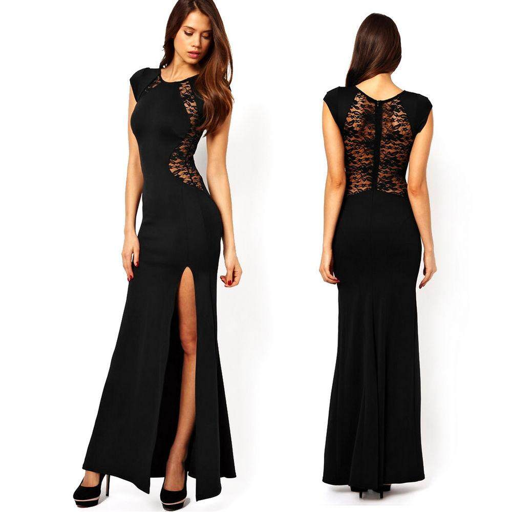 1f2f208bb2 Women Lace Split Evening Party Bodycon Formal Ball Gown Prom Maxi Long Dress