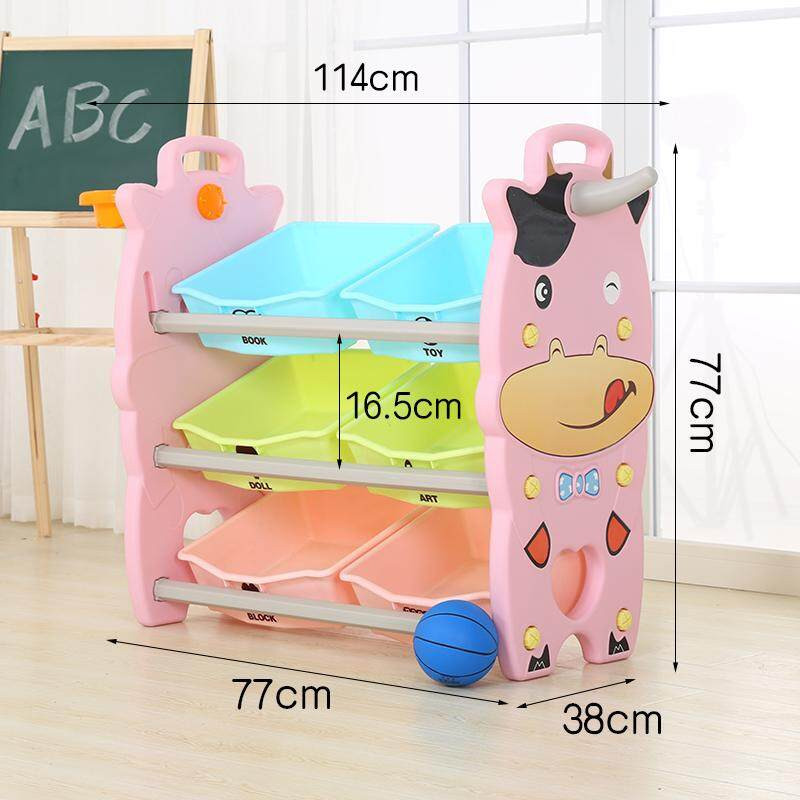 3 Layers Toy Rack with Basketball and Basket Hoop, Bookshelf Childrens Toys Mini Multi-Function Plastic Box, Kids Toy Organizer and Storage Bins, 8-Bins in Fun Colors, Toy Storage Rack