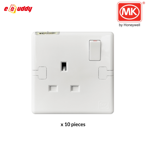 MK E2757 WHI 1Gang 13A Switched Socket Outlet with SIRIM White Color (x10 Pcs) [Ready Stock]