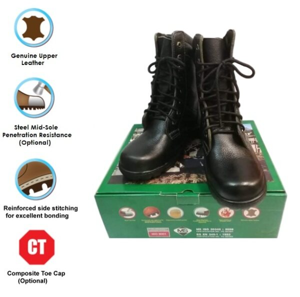 FRONTIER 9 Lace Up Hi-Cut Safety Boots / Military & Hiking Safety Shoe c/w Steel Toe Cap & Steel Mid-Sole