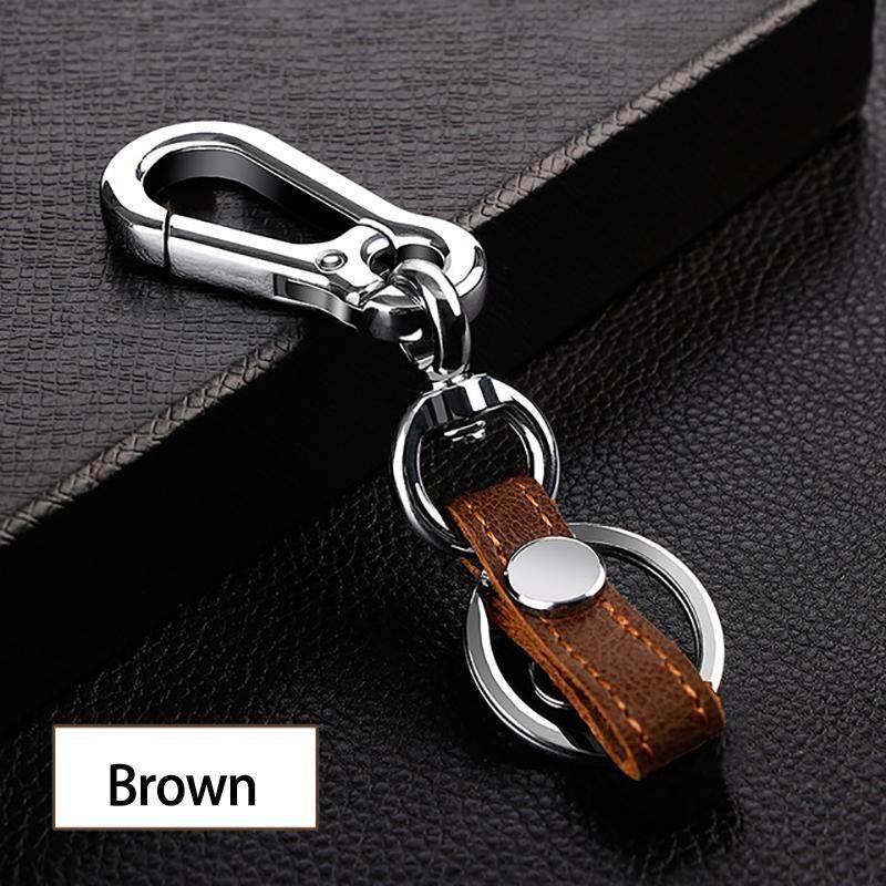 【Available】premium Gantungan Kunci Seng Paduan + Kulit Mobil Gantungan Kunci Gantungan Kunci untuk Honda Gantungan Kunci Nissan Toyota Mazda Hadiah YS-4 (Coklat)