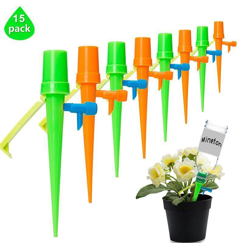 OrzBuy 15/18/24pcs Vacation Plant Waterer Plant Self Watering Spikes Plant Automatic Watering Devices Adjustable Water Volume Drip System