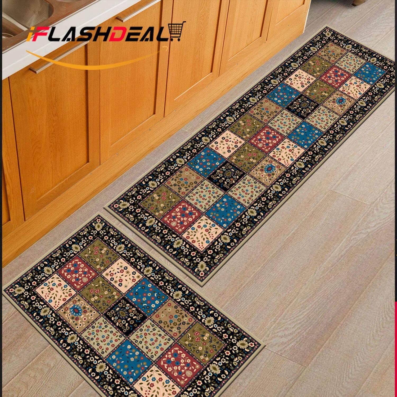iFlashDeal Buy 1 Free 1 Kitchen Floor Carpet Rugs Bathroom Floor Mat Anti Slip Flannel Carpet 40x60cm and 40x120cm