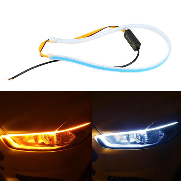 Dải Đèn LED Xe Ô Tô Đèn Báo Rẽ Màu Vàng Trắng Ultrafine DRL Đèn Chạy Ban Ngày 45 60Cm Ống Dẫn Mềm Dẻo Không Thấm Nước Tạo Kiểu Xe Hơi