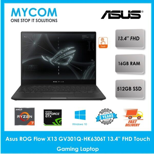 Asus ROG Flow X13 GV301Q-HK6306T 13.4 FHD Touch Gaming Laptop (Ryzen 7 5800HS, 16GB, 512GB SSD, GTX1650 4GB, W10) Malaysia