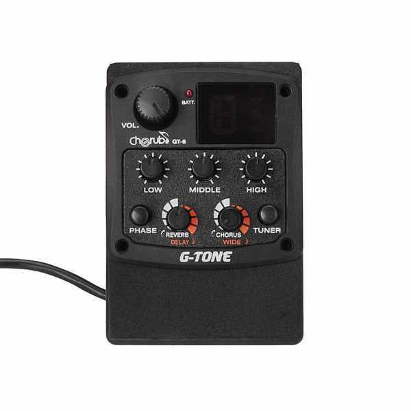 Cherub G-Tone GT-6 Acoustic Guitar Preamp Piezo Pickup 3-Band EQ Equalizer LCD Tuner (Black) Malaysia