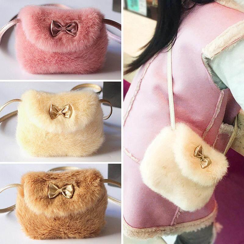 Cute Kids Girls Mini Bowknot Crossbody Bags Soft Fur Handbags Bag Purse