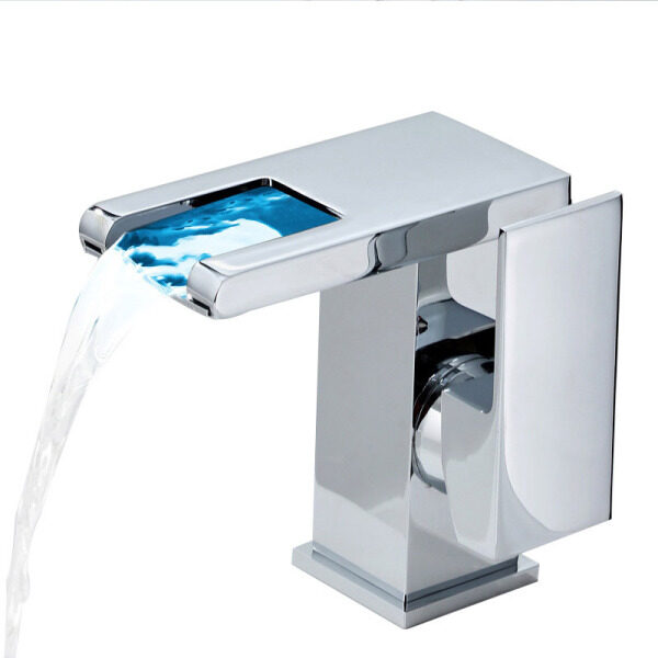 Waterfall Basin Luminous Hot and Cold Water Tap Bathroom Wash Face Bathroom Temperature Control Personality Faucet Color Changing LED Light Faucet Bathroom Accessories