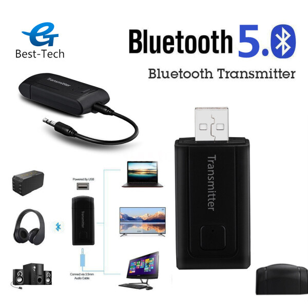 Best-Tech USB Bluetooth 5.0 + EDR Audio Transmitter for HDTV PC AUX Driver-Free USB Audio Dongle Transmitter 3.5MM Jack AUX Wireless Adapter