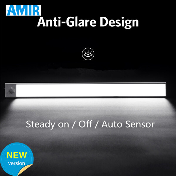 AMIR 25 LED 1PC Motion Sensor Closet Lights USB Rechargeable Wireless Night Light Detachable Light Bar Lamp for Wardrobe Cabinet Closet Bathroom Bedroom - Cool White