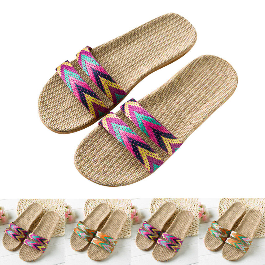 Women Slippers Fashion Anti-slip Linen Home Indoor Open Toe Flat Shoes Beach giá rẻ