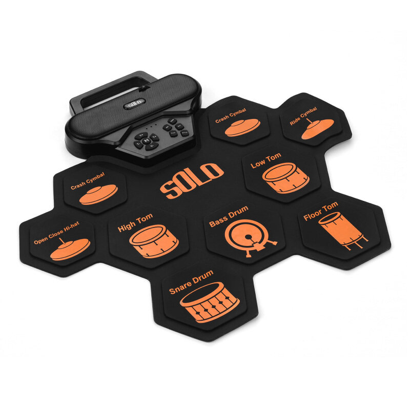 【Flash Deal】SOLO SD-50 Portable Electronic Drum Pad Digital Silicone Roll-Up Drum Practice Kit with 9 Labeled Pads 2 Foot Pedals Built-in Speaker for Children Beginners