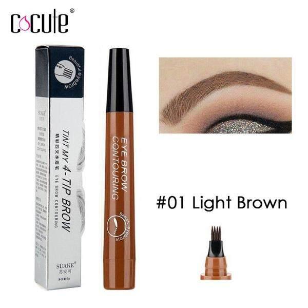 Cocute Microblading Eyebrow Pencil Tint 4 Tip Liquid Brow Tattoo Pen 5 Colors Paint Makeup Eyebrows Waterproof Cosmetic Eye brow Liner
