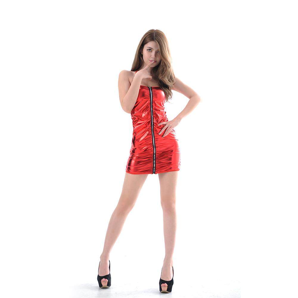 7efcd0b5189 Undressed Queen Siamese Leather European And American Lingerie Stage Uniform  Temptation Zipper Patent Leather A2