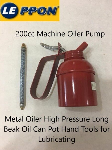 200cc Machine Oiler Pump Leppon Metal Oiler High Pressure Long Beak Oil Can Pot Hand Tools for Lubricating