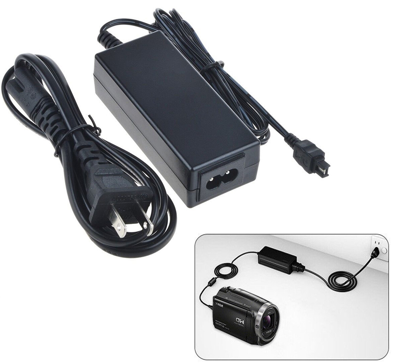 AC Wall Battery Power Charger Adapter for Sony Camcorder HDR-CX115 E HDR-CX116 E
