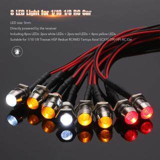 8 LED Light Kit 2 White 2 Red 4 Yellow for 1 10 1 8 Traxxas HSP Redcat RC4WD Tamiya Axial SCX10 D90 HPI RC Car thumbnail