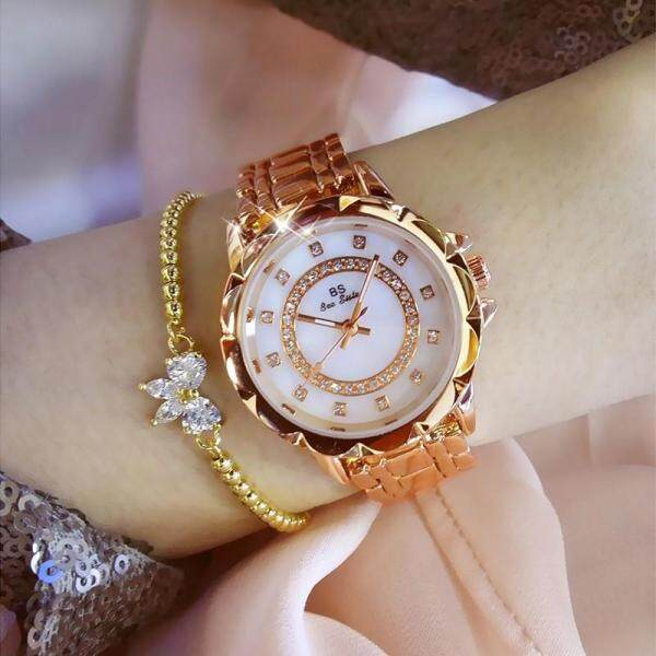 BS Bee Sister Brand Fashion Womens Watches Gold Silver Elegant Stainless Steel Alloy Strap Waterproof Quartz Round Shape Watches Diamond Austria Imported Rhinestone Luxury Ladies Wristwatches FA1506 Malaysia