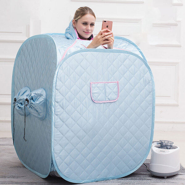 Buy Portable Folding Steam Sauna SPA Room Tent Box without Steamer for One Person or Two People Weight Loss Full Body Slimming Relaxation Blue(steamer is not included) Singapore