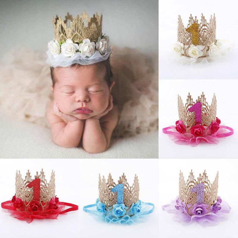 Newborn Baby Girls Infant Toddler Cute Crown Flower Headband Hair Band Headwear