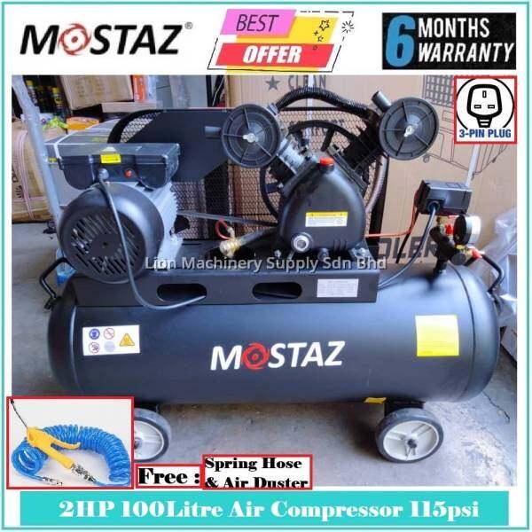 MOSTAZ Air Compressor Belting Type 2HP 100Litre 115psi/8Bar MSAC100 - Double Piston - 6 Months Local Warranty -