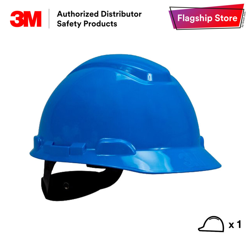 3M H-703R Blue Colour Safety Helmet/ Hard Hat/ 4-Point Suspension Ratchet Type/ ANSI Approval [1 piece] Made in USA